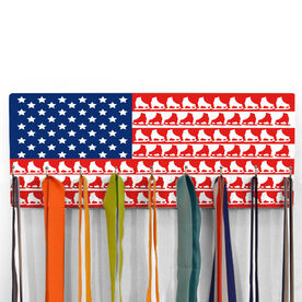 Figure Skating Hooked on Medals Hanger - Figure Skate American Flag