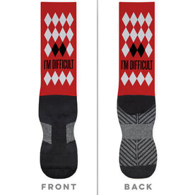 Skiing and Snowboarding Printed Mid-Calf Socks - I'm Difficult