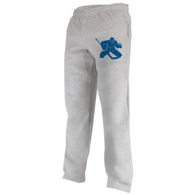 Hockey Fleece Sweatpants Hockey Goalie Silhouette