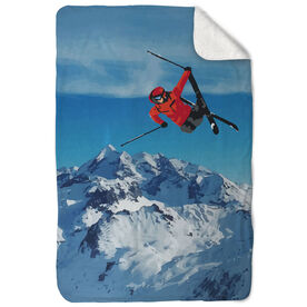 Skiing Sherpa Fleece Blanket - Airborne Landscape