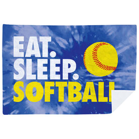 Softball Premium Blanket - Eat. Sleep. Softball Tie-Dye
