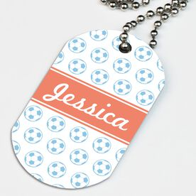 Soccer Printed Dog Tag Necklace Personalized Soccer Ball Pattern