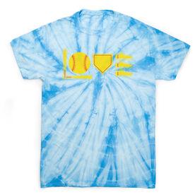 Softball Short Sleeve T-Shirt - Softball Love To Play Tie Dye