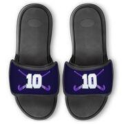 Field Hockey Repwell® Slide Sandals - Crossed Field Hockey Sticks with Numbers