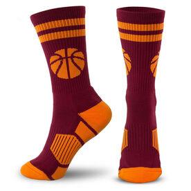 Basketball Woven Mid-Calf Socks - Ball (Maroon/Orange)