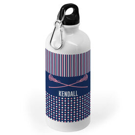 Girls Lacrosse 20 oz. Stainless Steel Water Bottle - Personalized Crossed Sticks with Pattern