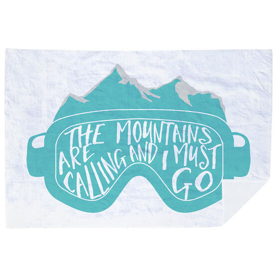 Skiing & Snowboarding Premium Blanket - The Mountains Are Calling Goggles