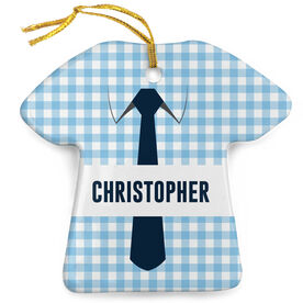 Personalized Porcelain Ornament - Checkered Business Shirt Outfit
