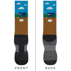 Softball Printed Mid-Calf Socks - Mitts The Softball Dog