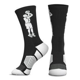 Basketball Woven Mid-Calf Socks - Player Jump Shot (Black/White)