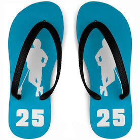 Guys Lacrosse Flip Flops Personalized Chillax'n Silhouette With Number