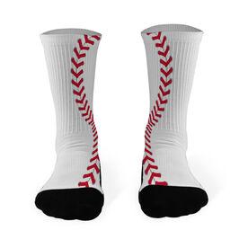 Baseball Printed Mid Calf Socks Baseball Stitches