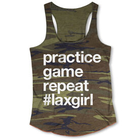 Girls Lacrosse Camouflage Racerback Tank Top - Practice Game Repeat