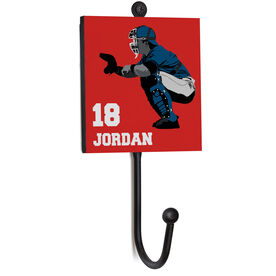 Baseball Medal Hook - Catcher With Name and Number