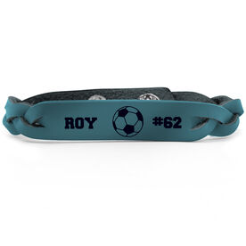 Soccer Leather Engraved Bracelet Name Ball Number
