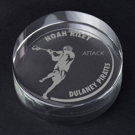 Guys Lacrosse Personalized Engraved Crystal Gift - Customized Player