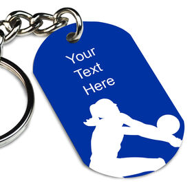 Female Player Silhouette Printed Dog Tag Keychain