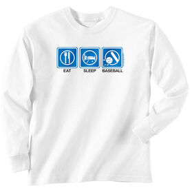 Baseball Tshirt Long Sleeve Eat Sleep Baseball