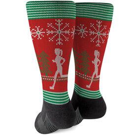 Running Printed Mid-Calf Socks - Christmas Knit (Girl)