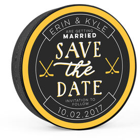 Personalized Wedding Save the Date Hockey Puck