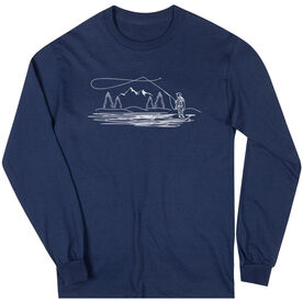 Fly Fishing Long Sleeve T-Shirt - Fly Fishing Player Sketch
