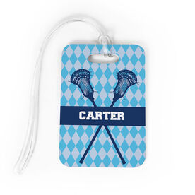 Guys Lacrosse Bag/Luggage Tag - Personalized Guys Crossed Sticks Pattern