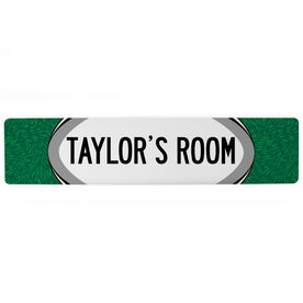 """Rugby Aluminum Room Sign - Your Room Rugby (4""""x18"""")"""