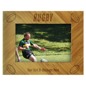 Rugby Bamboo Engraved Picture Frame Rugby