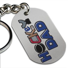 Hockey Dad Printed Dog Tag Keychain