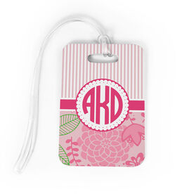 Personalized Bag/Luggage Tag - Striped Floral Monogram
