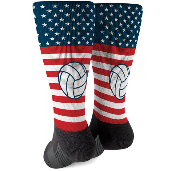 Volleyball Printed Mid-Calf Socks - USA Stars and Stripes