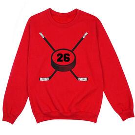 Hockey Crew Neck Sweatshirt - Personalized Hockey Number