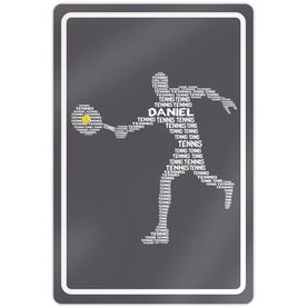 "Tennis Aluminum Room Sign Personalized Tennis Words Guy (18"" X 12"")"
