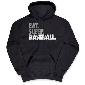 Baseball Hooded Sweatshirt - Eat Sleep Baseball Bold Text