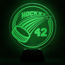 Hockey Acrylic LED Lamp Slap Shot With Number