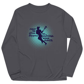 Girls Lacrosse Long Sleeve Performance Tee - Forget The Glass Slippers Lacrosse