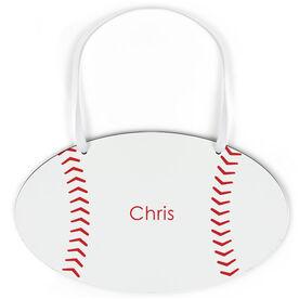 Baseball Oval Sign - Personalized Stitches