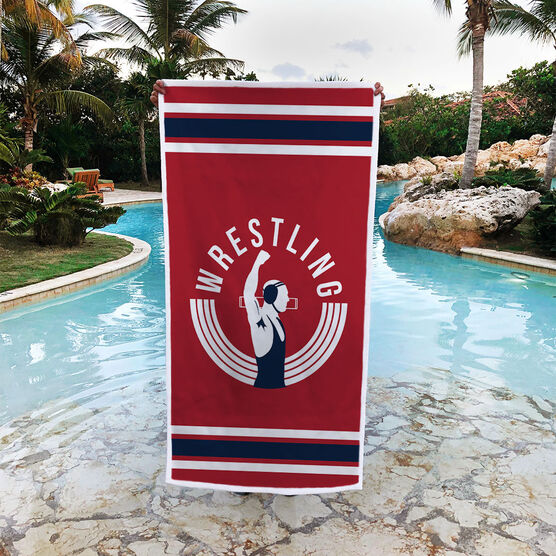 Wrestling Premium Beach Towel - Winners Never Quit
