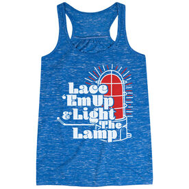 Hockey Flowy Racerback Tank Top - Lace 'Em Up And Light The Lamp