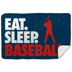 Baseball Sherpa Fleece Blanket - Eat. Sleep. Baseball. Horizontal