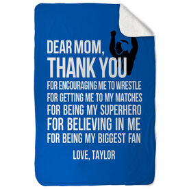 Wrestling Sherpa Fleece Blanket Dear Mom
