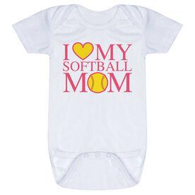 Softball Baby One-Piece - I Love My Softball Mom