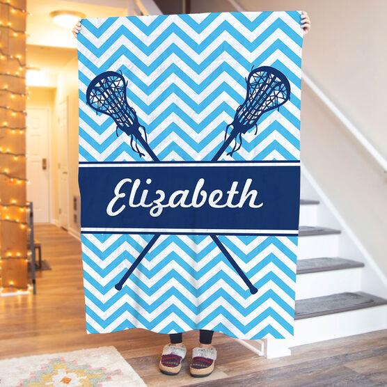 Girls Lacrosse Premium Blanket - Personalized Girl Lacrosse Sticks Chevron