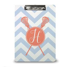 Girls Lacrosse Custom Clipboard Monogram with Crossed Sticks and Chevron
