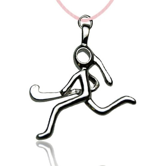 Silver Plated Field Hockey Girl (Stick Figure) Necklace