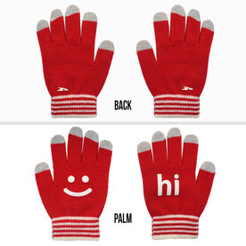 Running Gloves with Touchscreen Fingers - Red/White Hi Bye