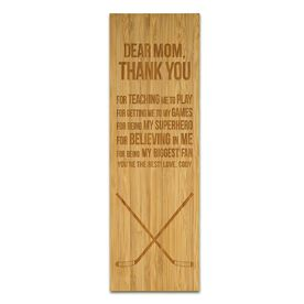 "Hockey 12.5"" X 4"" Engraved Bamboo Removable Wall Tile - Dear Mom"