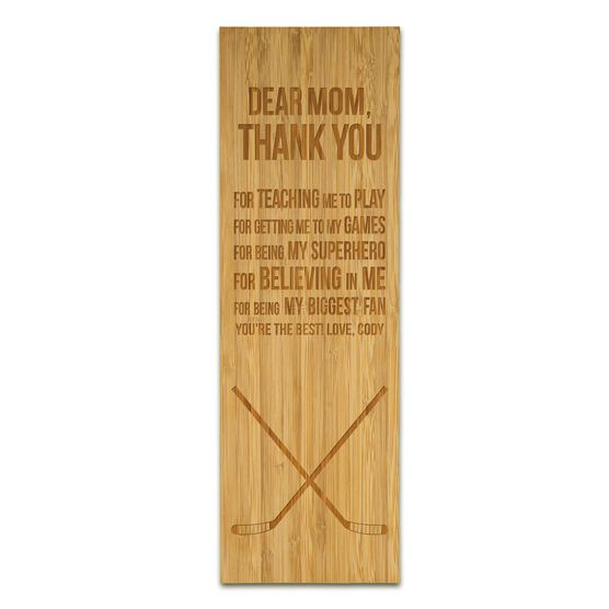 "Hockey 12.5"" X 4"" Engraved Bamboo Removable Wall Tile - Dear Mom"