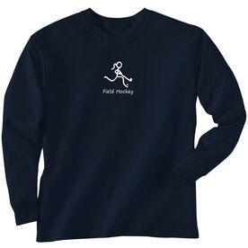 Field Hockey T-Shirt Long Sleeve Field Hockey Girl White Stick Figure With Word