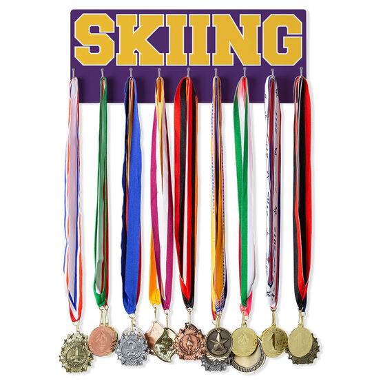 Skiing Hooked on Medals Hanger - Word